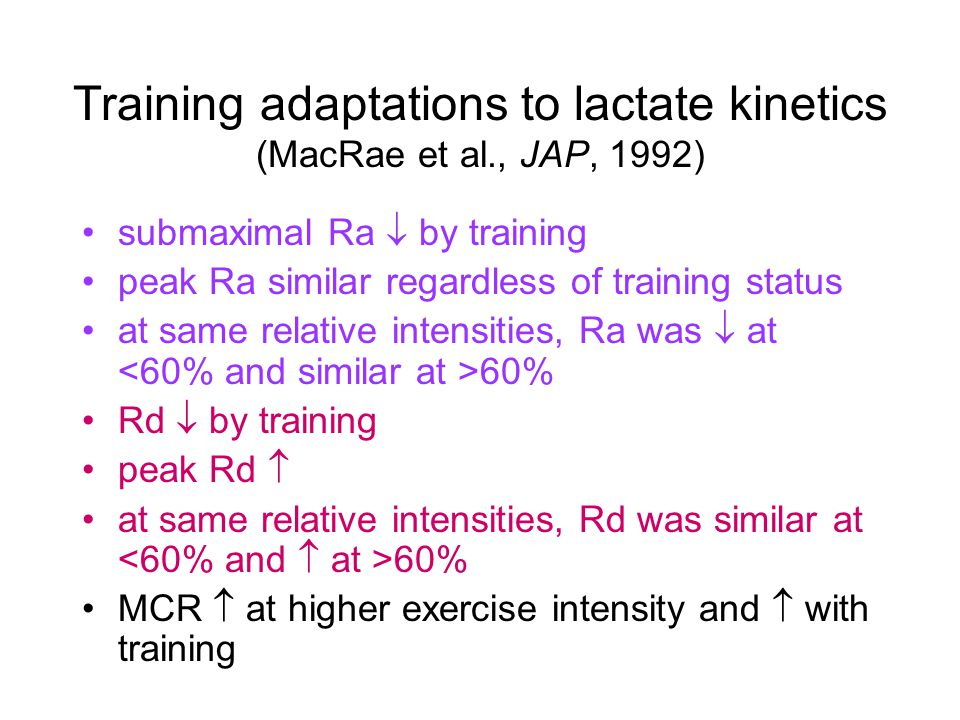 Training adaptations to lactate kinetics (MacRae et al., JAP, 1992) submaximal Ra  by training peak Ra similar regardless of training status at same relative intensities, Ra was  at 60% Rd  by training peak Rd  at same relative intensities, Rd was similar at 60% MCR  at higher exercise intensity and  with training