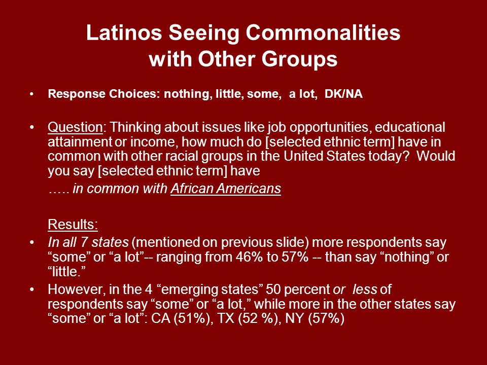 Latinos Seeing Commonalities with Other Groups Response Choices: nothing, little, some, a lot, DK/NA Question: Thinking about issues like job opportunities, educational attainment or income, how much do [selected ethnic term] have in common with other racial groups in the United States today.