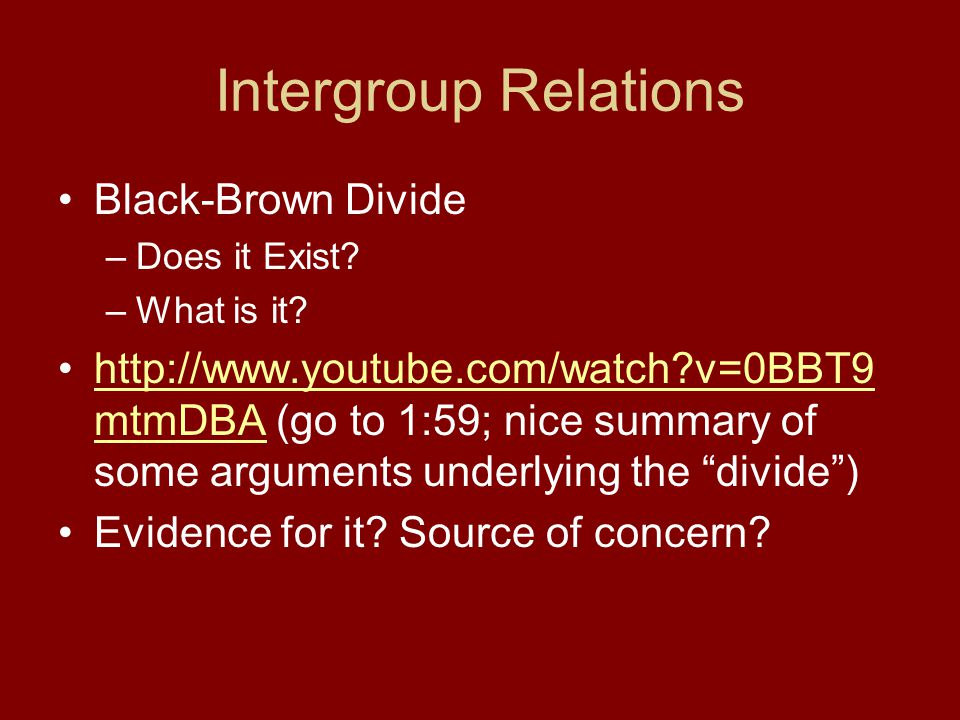 Intergroup Relations Black-Brown Divide –Does it Exist.