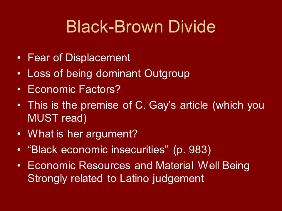 Black-Brown Divide Fear of Displacement Loss of being dominant Outgroup Economic Factors.