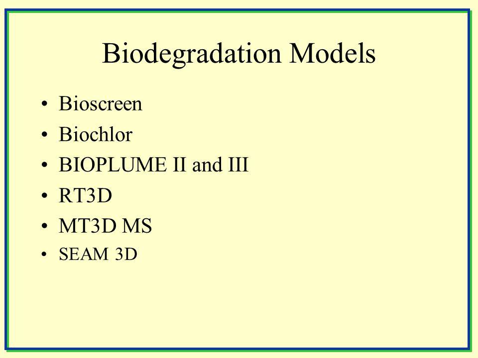 Biodegradation Models Bioscreen Biochlor BIOPLUME II and III RT3D MT3D MS SEAM 3D