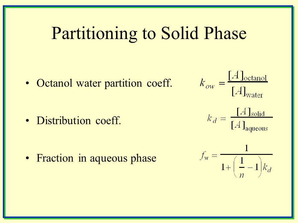 Regression Eqns for Sorption