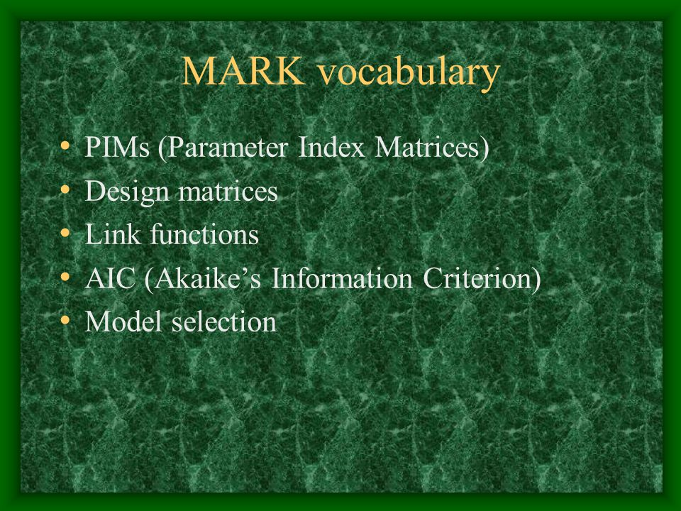 MARK vocabulary PIMs (Parameter Index Matrices) Design matrices Link functions AIC (Akaike's Information Criterion) Model selection