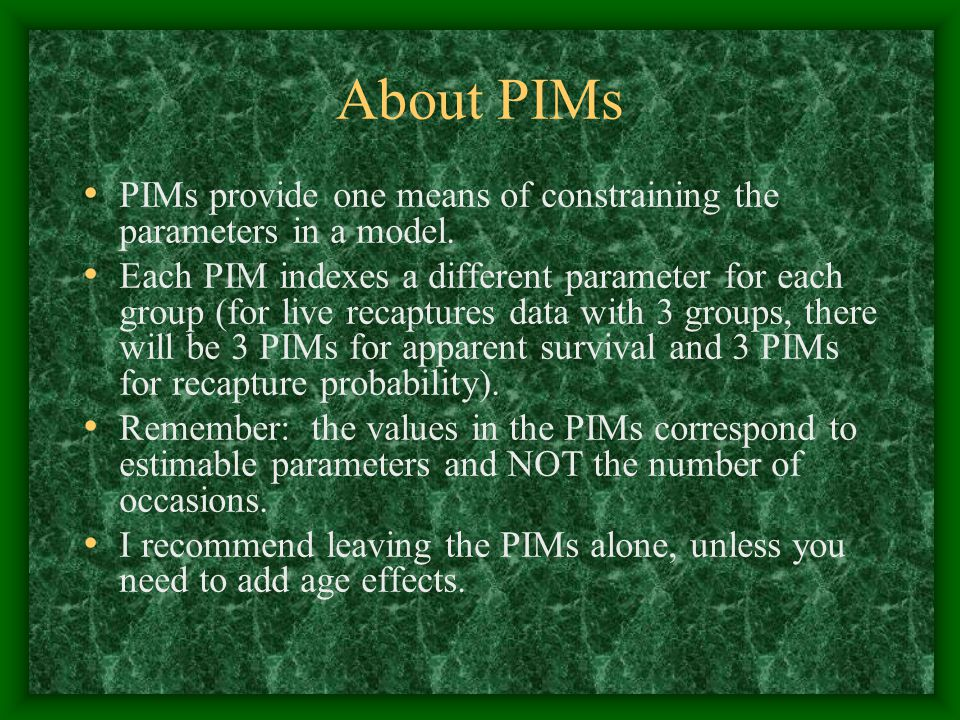 About PIMs PIMs provide one means of constraining the parameters in a model.