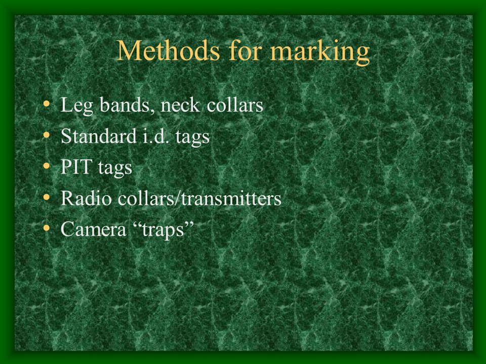 Methods for marking Leg bands, neck collars Standard i.d.