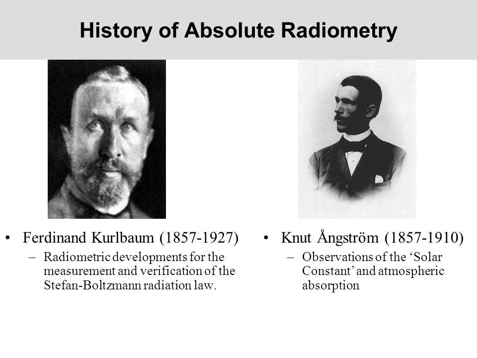 History of Absolute Radiometry Ferdinand Kurlbaum (1857-1927) –Radiometric developments for the measurement and verification of the Stefan-Boltzmann r