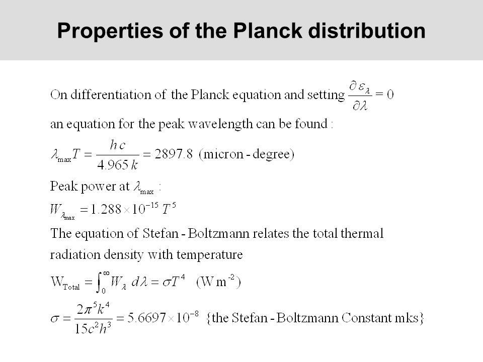 Properties of the Planck distribution