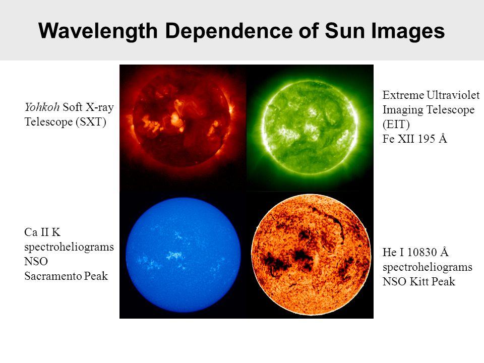 Wavelength Dependence of Sun Images Yohkoh Soft X-ray Telescope (SXT) Extreme Ultraviolet Imaging Telescope (EIT) Fe XII 195 Å Ca II K spectroheliograms NSO Sacramento Peak He I 10830 Å spectroheliograms NSO Kitt Peak