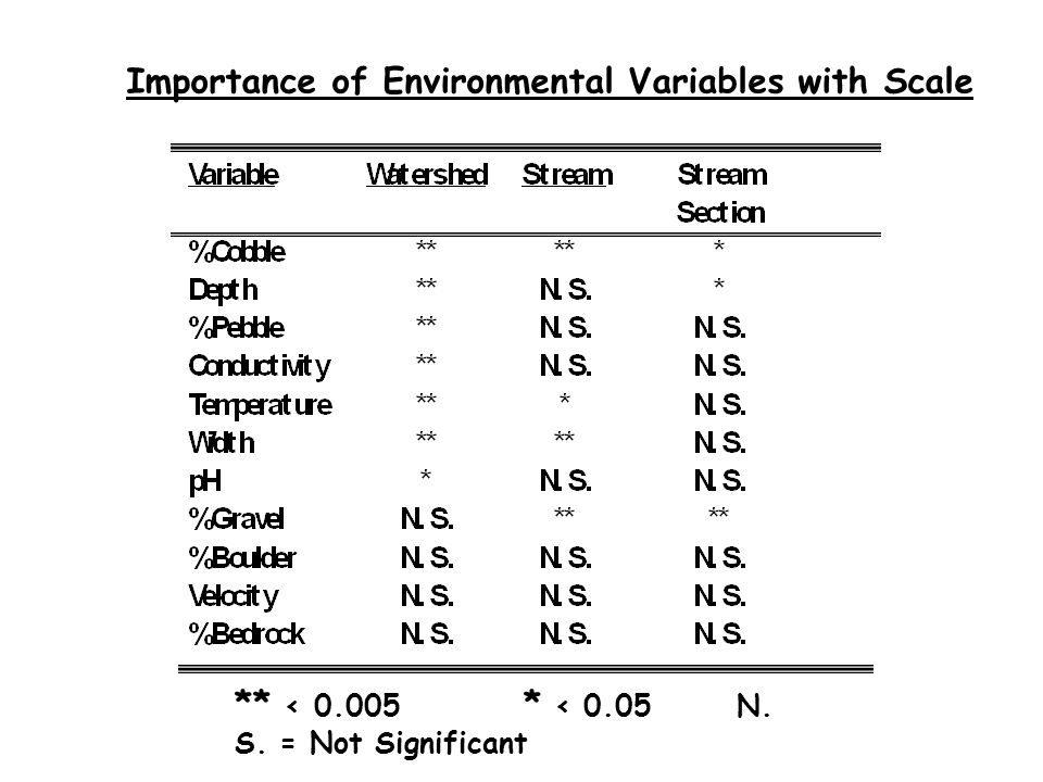Importance of Environmental Variables with Scale ** < 0.005 * < 0.05 N. S. = Not Significant