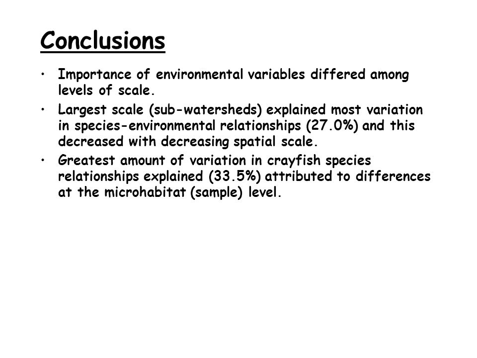 Conclusions Importance of environmental variables differed among levels of scale.