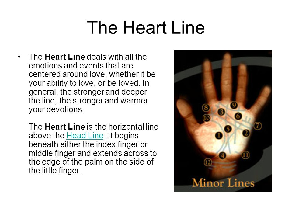 The Heart Line The Heart Line deals with all the emotions and events that are centered around love, whether it be your ability to love, or be loved.