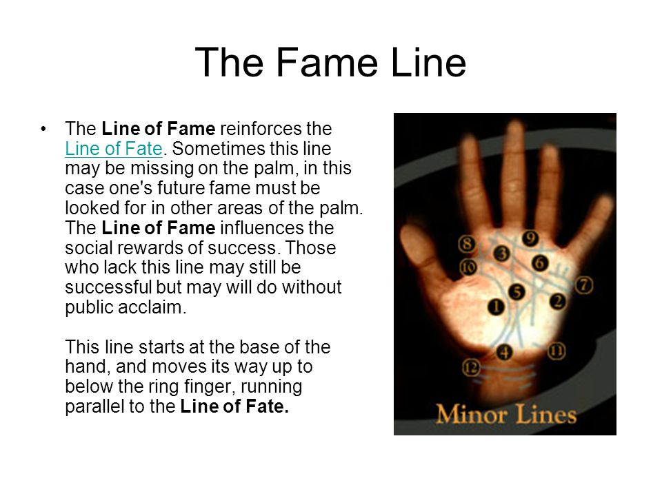 The Fame Line The Line of Fame reinforces the Line of Fate.