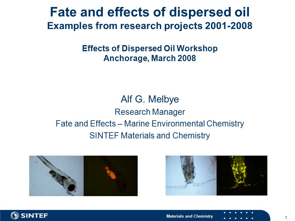 Materials and Chemistry 12 The toxicity of oil dispersions cont.