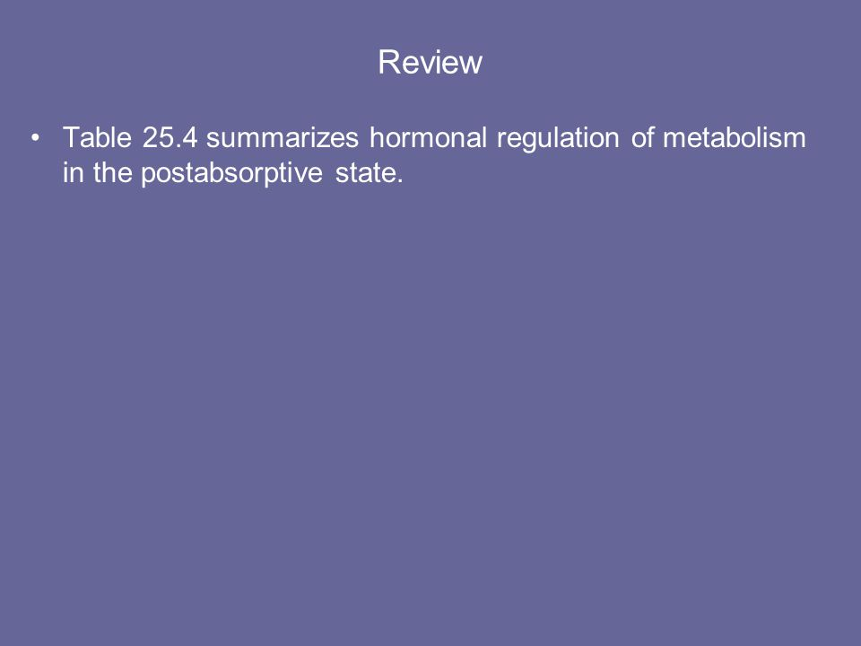 Regulation of Metabolism During the Postabsorptive State The hormones that stimulate metabolism in the postabsorptive counter the insulin effects that