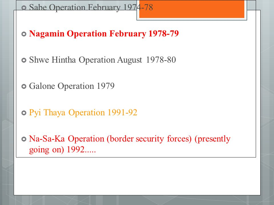  Sabe Operation February 1974-78  Nagamin Operation February 1978-79  Shwe Hintha Operation August 1978-80  Galone Operation 1979  Pyi Thaya Operation 1991-92  Na-Sa-Ka Operation (border security forces) (presently going on) 1992.....