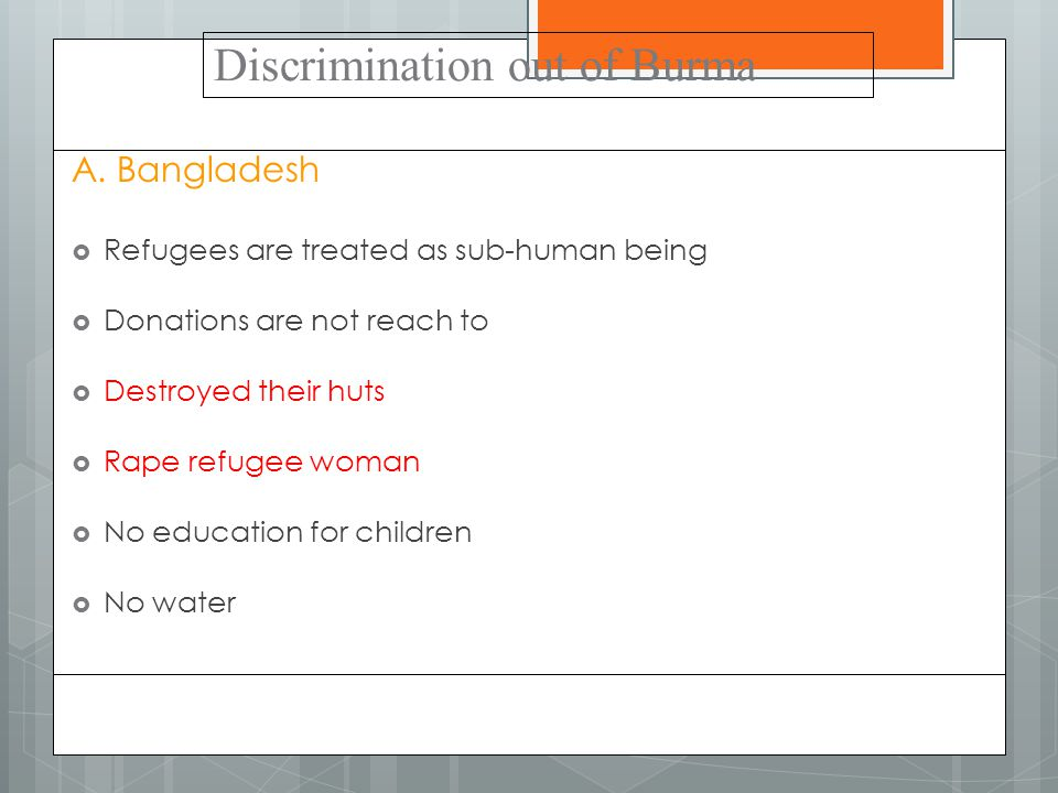 Discrimination out of Burma A.