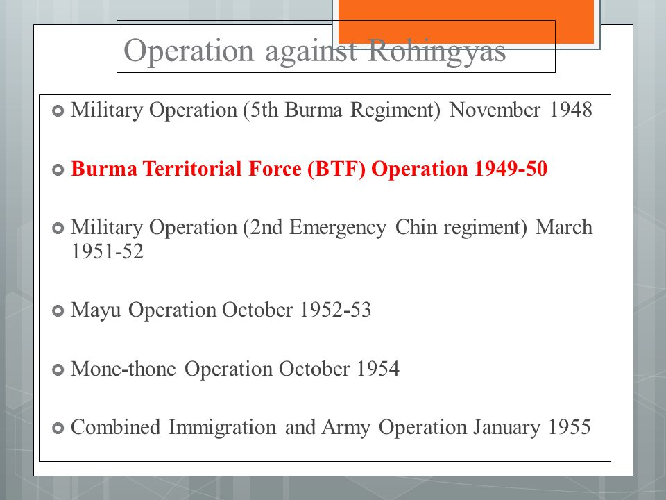 Operation against Rohingyas  Military Operation (5th Burma Regiment) November 1948  Burma Territorial Force (BTF) Operation 1949-50  Military Operation (2nd Emergency Chin regiment) March 1951-52  Mayu Operation October 1952-53  Mone-thone Operation October 1954  Combined Immigration and Army Operation January 1955