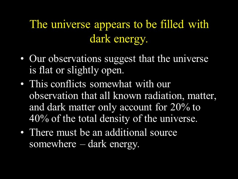 The universe appears to be filled with dark energy.