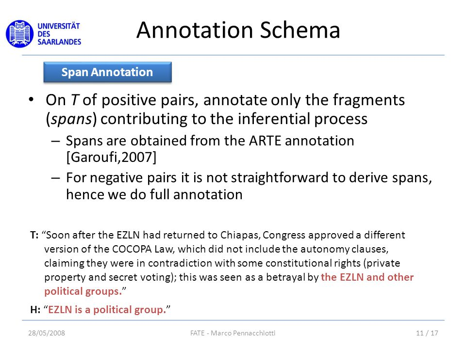 Annotation Schema On T of positive pairs, annotate only the fragments (spans) contributing to the inferential process – Spans are obtained from the ARTE annotation [Garoufi,2007] – For negative pairs it is not straightforward to derive spans, hence we do full annotation Span Annotation T: Soon after the EZLN had returned to Chiapas, Congress approved a different version of the COCOPA Law, which did not include the autonomy clauses, claiming they were in contradiction with some constitutional rights (private property and secret voting); this was seen as a betrayal by the EZLN and other political groups. H: EZLN is a political group. 28/05/200811 / 17FATE - Marco Pennacchiotti