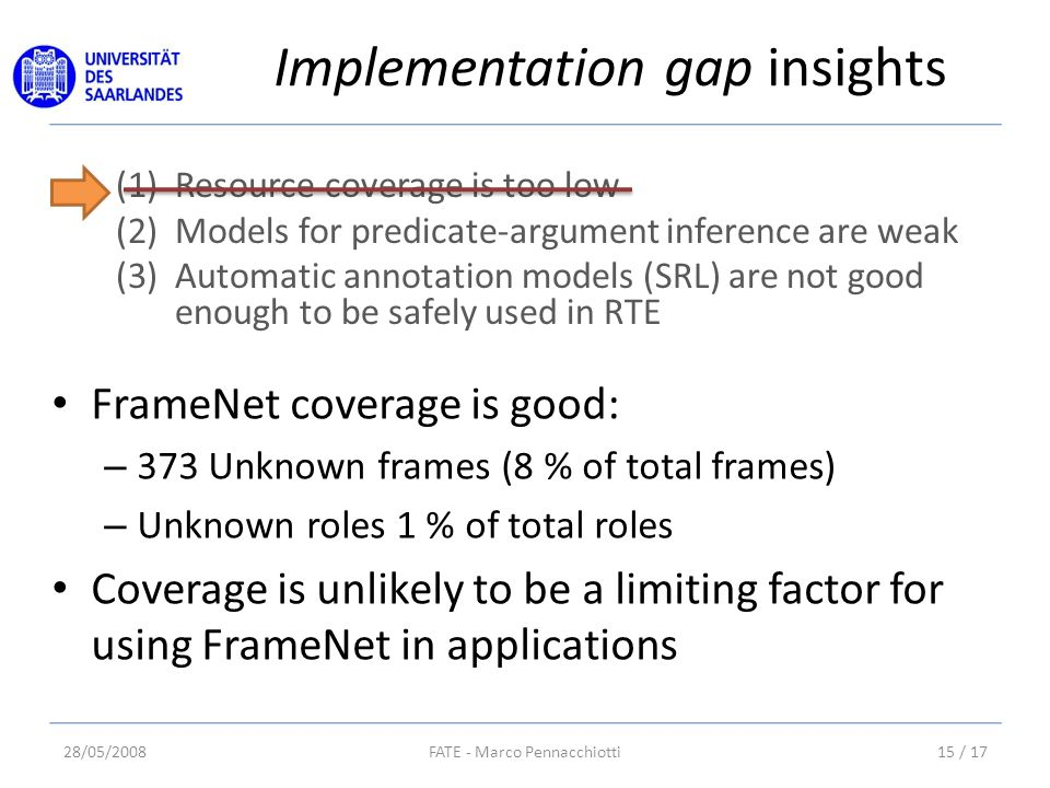 (1)Resource coverage is too low (2)Models for predicate-argument inference are weak (3)Automatic annotation models (SRL) are not good enough to be safely used in RTE Implementation gap insights 28/05/200815 / 17FATE - Marco Pennacchiotti FrameNet coverage is good: – 373 Unknown frames (8 % of total frames) – Unknown roles 1 % of total roles Coverage is unlikely to be a limiting factor for using FrameNet in applications