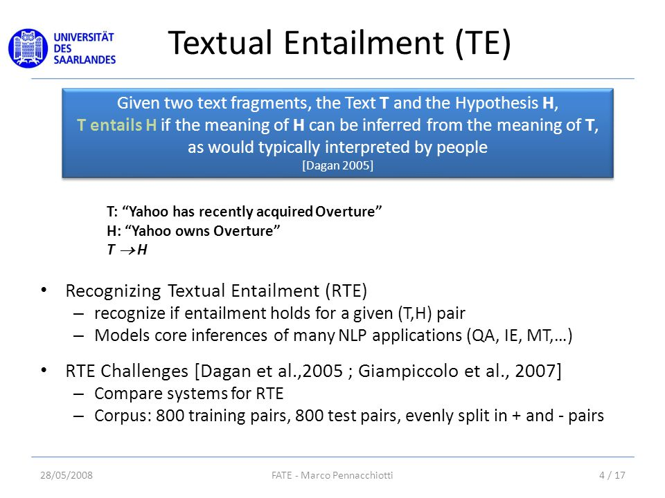 Textual Entailment (TE) Given two text fragments, the Text T and the Hypothesis H, T entails H if the meaning of H can be inferred from the meaning of T, as would typically interpreted by people [Dagan 2005] Given two text fragments, the Text T and the Hypothesis H, T entails H if the meaning of H can be inferred from the meaning of T, as would typically interpreted by people [Dagan 2005] T: Yahoo has recently acquired Overture H: Yahoo owns Overture T  H Recognizing Textual Entailment (RTE) – recognize if entailment holds for a given (T,H) pair – Models core inferences of many NLP applications (QA, IE, MT,…) RTE Challenges [Dagan et al.,2005 ; Giampiccolo et al., 2007] – Compare systems for RTE – Corpus: 800 training pairs, 800 test pairs, evenly split in + and - pairs 28/05/20084 / 17FATE - Marco Pennacchiotti