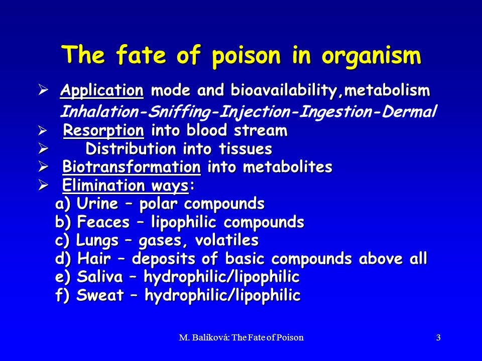 M. Balíková: The Fate of Poison3 The fate of poison in organism Application mode and bioavailability,metabolism  Application mode and bioavailability