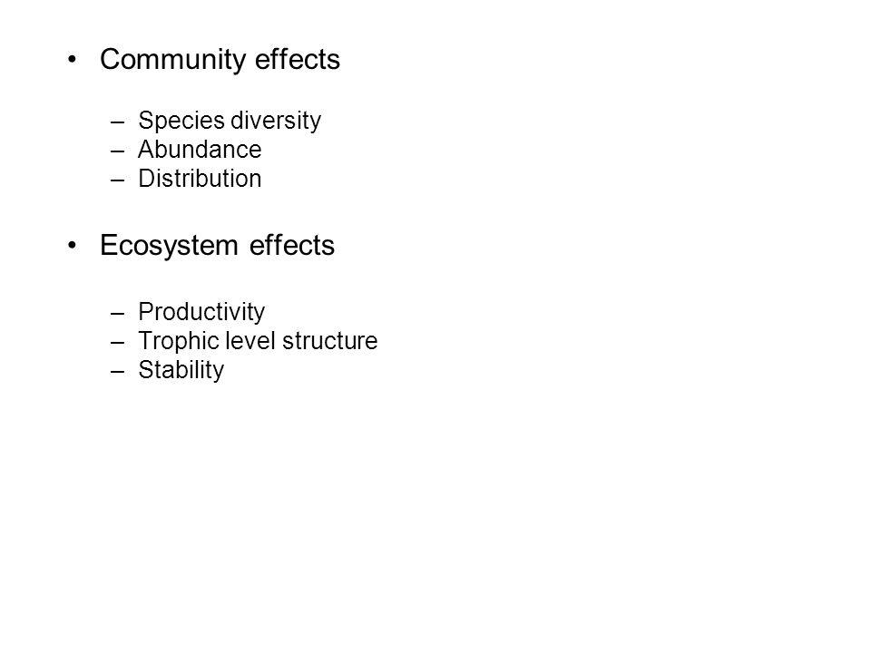 Community effects –Species diversity –Abundance –Distribution Ecosystem effects –Productivity –Trophic level structure –Stability