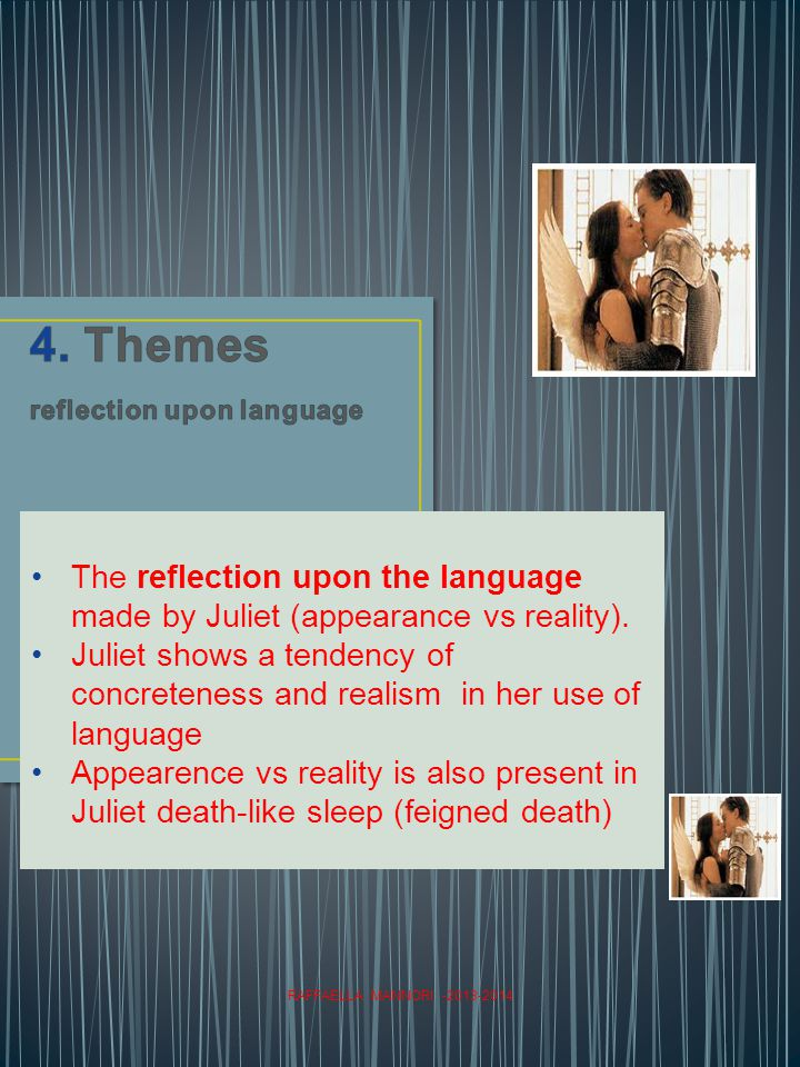 RAFFAELLA MANNORI -2013-2014 The reflection upon the language made by Juliet (appearance vs reality).