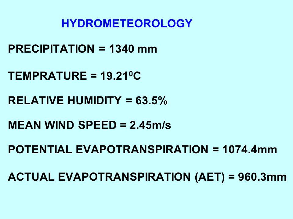 HYDROMETEOROLOGY PRECIPITATION = 1340 mm TEMPRATURE = 19.21 0 C RELATIVE HUMIDITY = 63.5% MEAN WIND SPEED = 2.45m/s POTENTIAL EVAPOTRANSPIRATION = 107
