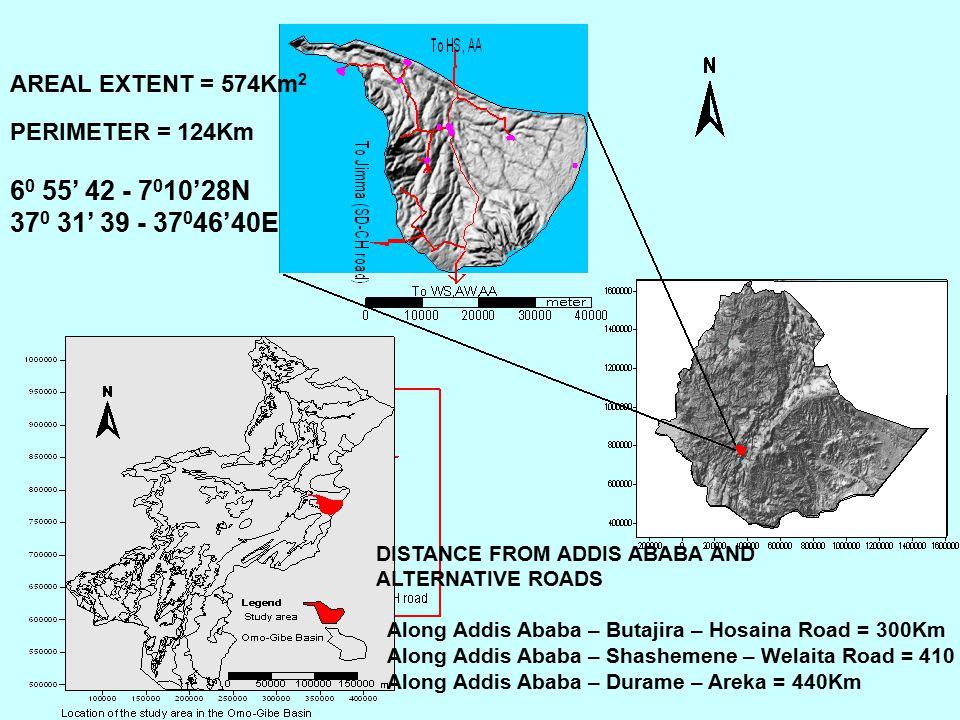 DISTANCE FROM ADDIS ABABA AND ALTERNATIVE ROADS Along Addis Ababa – Butajira – Hosaina Road = 300Km Along Addis Ababa – Shashemene – Welaita Road = 41