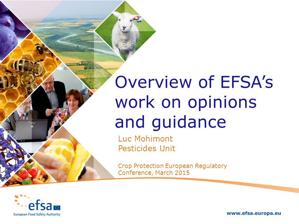 Overview of EFSA's work on opinions and guidance Luc Mohimont Pesticides Unit Crop Protection European Regulatory Conference, March 2015