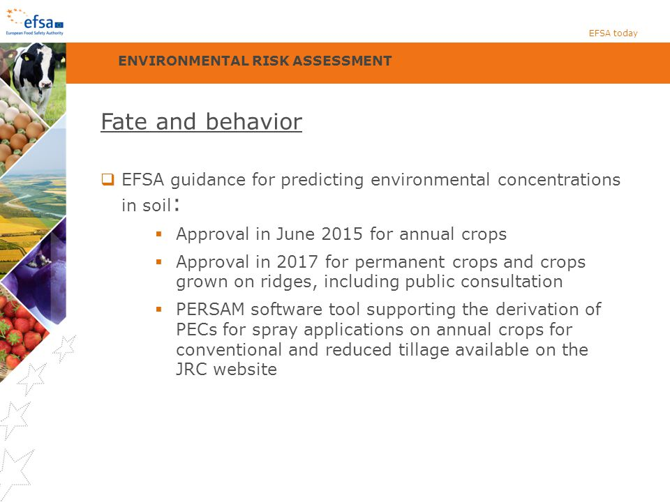 Fate and behavior  EFSA guidance for predicting environmental concentrations in soil :  Approval in June 2015 for annual crops  Approval in 2017 for permanent crops and crops grown on ridges, including public consultation  PERSAM software tool supporting the derivation of PECs for spray applications on annual crops for conventional and reduced tillage available on the JRC website EFSA today ENVIRONMENTAL RISK ASSESSMENT