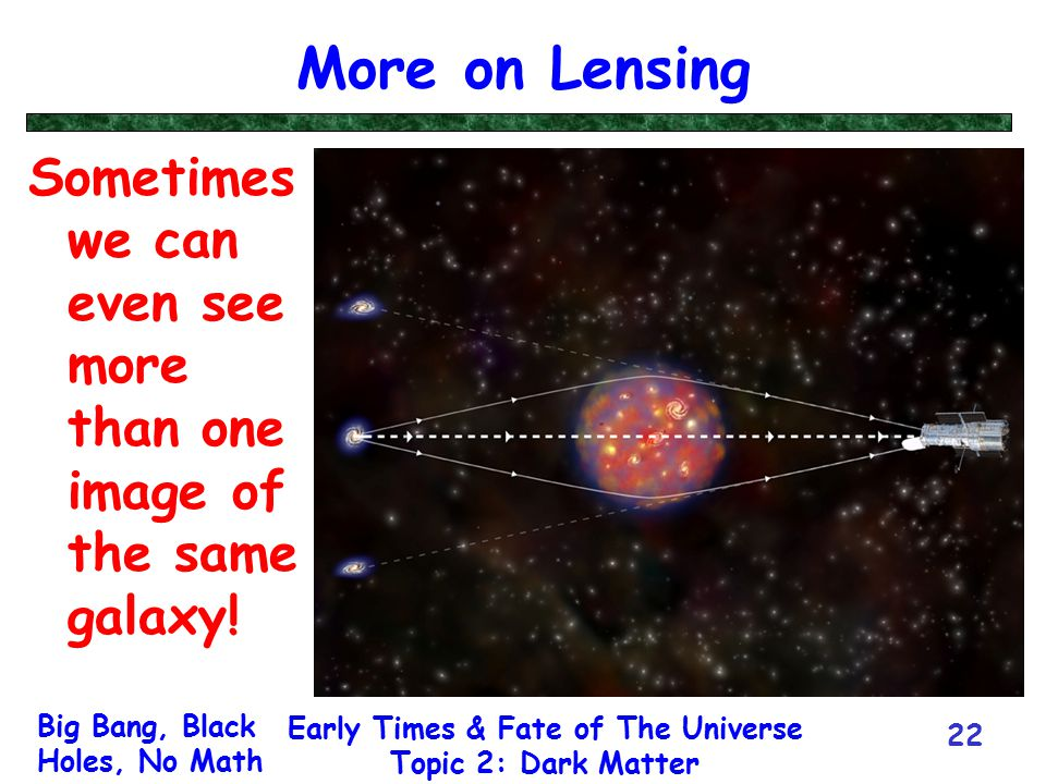 Big Bang, Black Holes, No Math Early Times & Fate of The Universe Topic 2: Dark Matter 22 More on Lensing Sometimes we can even see more than one imag