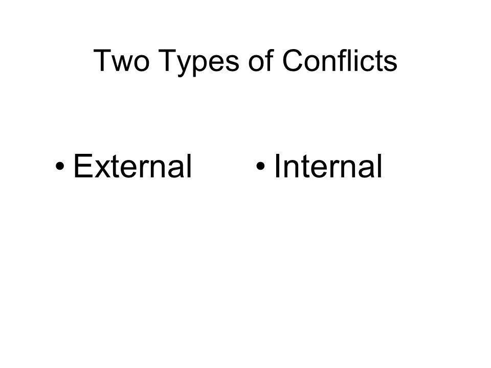 Two Types of Conflicts ExternalInternal