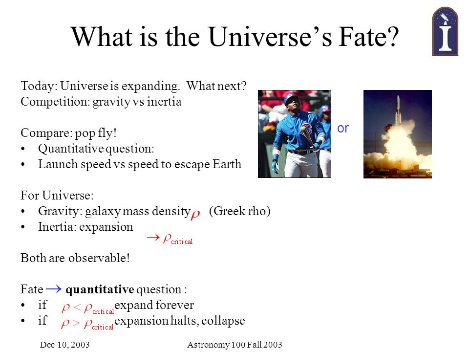Dec 10, 2003Astronomy 100 Fall 2003 What is the Universe's Fate.