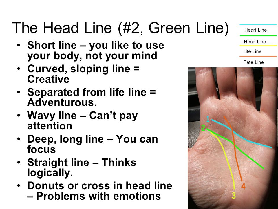 Short line – you like to use your body, not your mind Curved, sloping line = Creative Separated from life line = Adventurous. Wavy line – Can't pay at