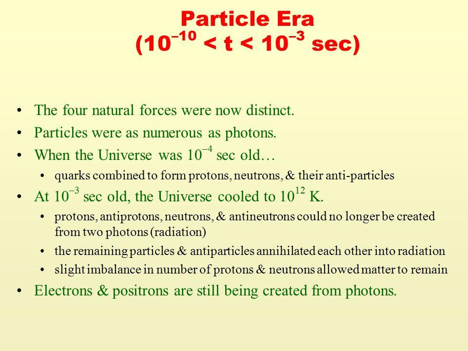 Particle Era (10 –10 < t < 10 –3 sec) The four natural forces were now distinct.