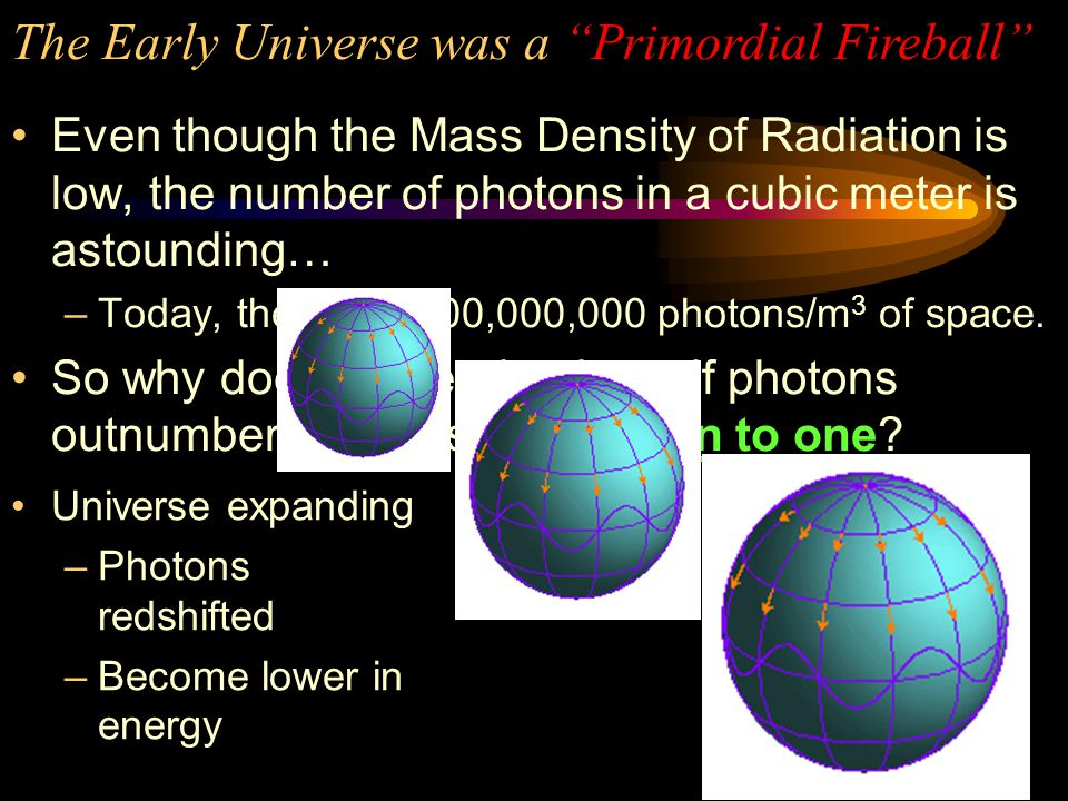 Mass Density of Radiation = 4.6 x 10 –31 kg/m 3 The Mass Density of Matter can also be determined –(although much more difficult) Mass Density of Matter = 2 to 11 x 10 –27 kg/m 3 D m >>>>D rad  matter dominated universe.
