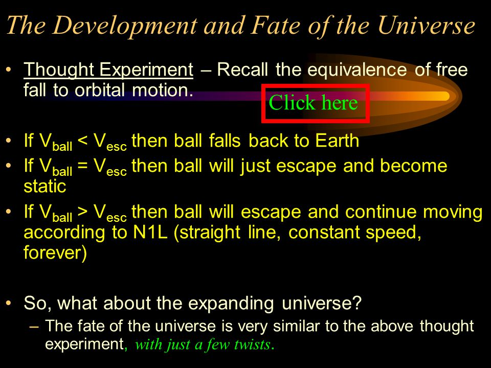 The Development and Fate of the Universe Since we cannot see past 300,000 years after the BB, then… What happened at the beginning of the expansion of the universe.
