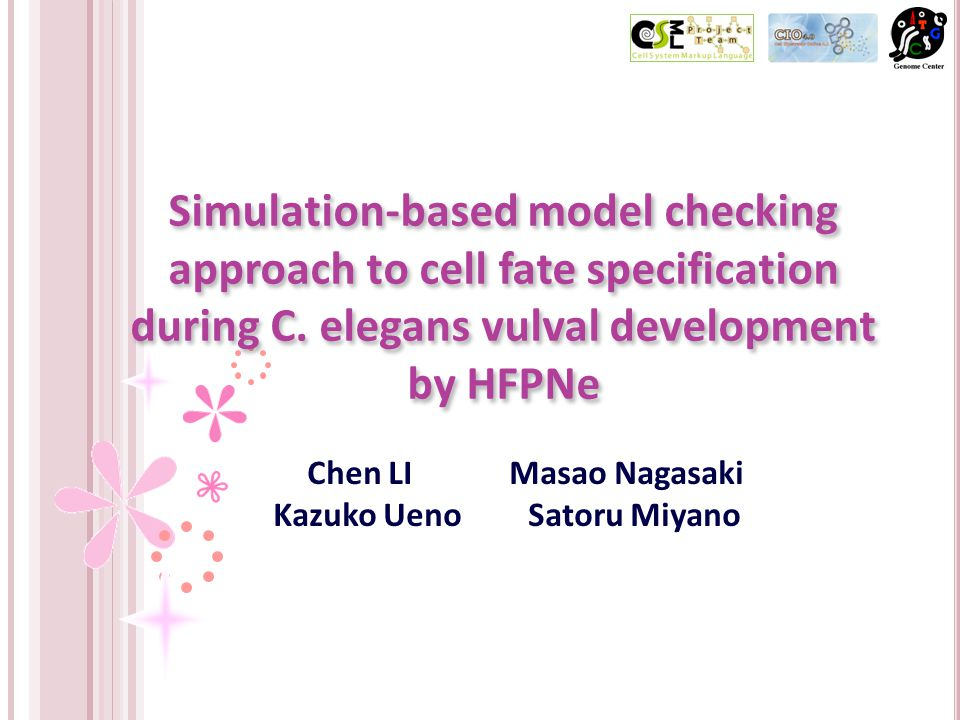 Simulation-based model checking approach to cell fate specification during C.