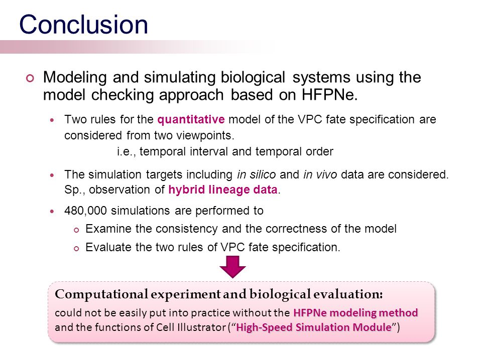 Conclusion Modeling and simulating biological systems using the model checking approach based on HFPNe.