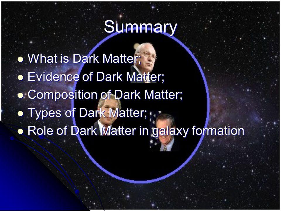 Summary What is Dark Matter; What is Dark Matter; Evidence of Dark Matter; Evidence of Dark Matter; Composition of Dark Matter; Composition of Dark Matter; Types of Dark Matter; Types of Dark Matter; Role of Dark Matter in galaxy formation Role of Dark Matter in galaxy formation
