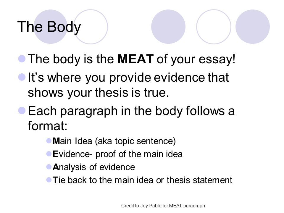 The Body The body is the MEAT of your essay.
