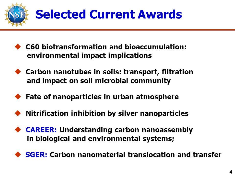 Selected Current Awards 4  C60 biotransformation and bioaccumulation: environmental impact implications  Carbon nanotubes in soils: transport, filtr