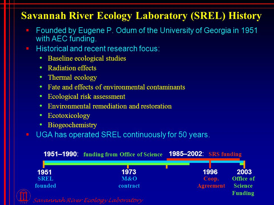 Savannah River Ecology Laboratory Savannah River Ecology Laboratory (SREL) History  Founded by Eugene P.