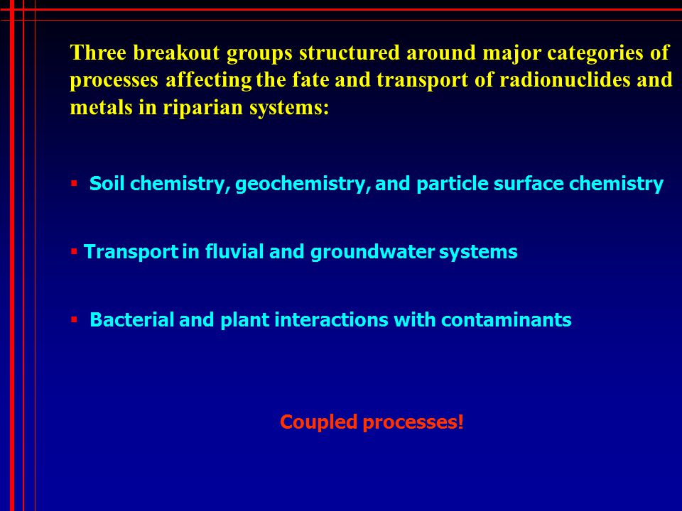 Three breakout groups structured around major categories of processes affecting the fate and transport of radionuclides and metals in riparian systems Three breakout groups structured around major categories of processes affecting the fate and transport of radionuclides and metals in riparian systems:  Soil chemistry, geochemistry, and particle surface chemistry  Transport in fluvial and groundwater systems  Bacterial and plant interactions with contaminants Coupled processes!