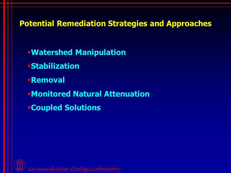 Potential Remediation Strategies and Approaches  Watershed Manipulation  Stabilization  Removal  Monitored Natural Attenuation  Coupled Solutions