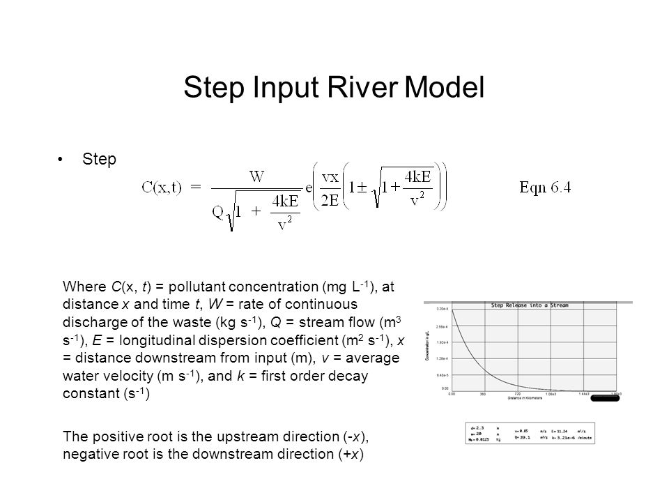 Step Input River Model Step Where C(x, t) = pollutant concentration (mg L -1 ), at distance x and time t, W = rate of continuous discharge of the waste (kg s -1 ), Q = stream flow (m 3 s -1 ), E = longitudinal dispersion coefficient (m 2 s -1 ), x = distance downstream from input (m), v = average water velocity (m s -1 ), and k = first order decay constant (s -1 ) The positive root is the upstream direction (-x), negative root is the downstream direction (+x)