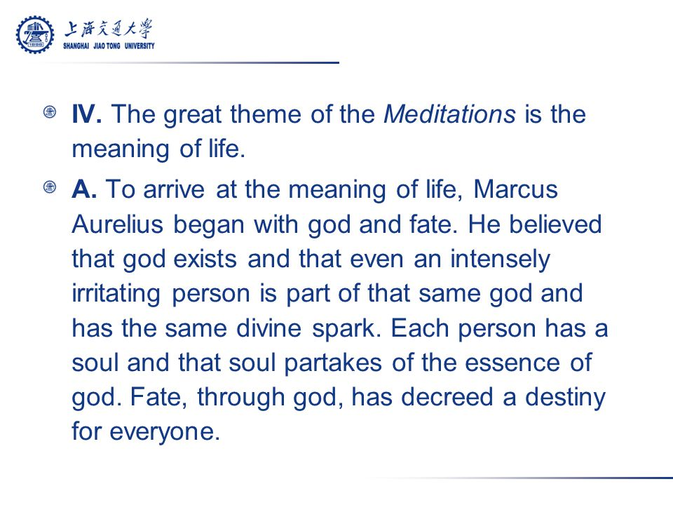 IV. The great theme of the Meditations is the meaning of life.
