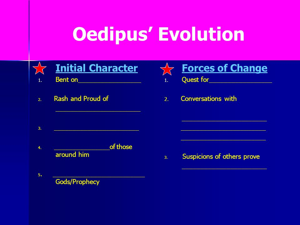 Oedipus' Evolution Initial Character 1. 1. Bent on_________________ 2. Rash and Proud of _______________________ 3. _______________________ 4. _______
